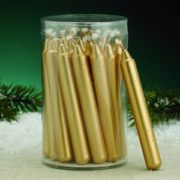 short gold metallic taper candles