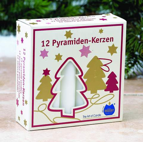 White German pyramid candles