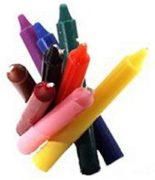 Household utility taper candles in colors