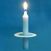 short vigil candle with paper bobeche