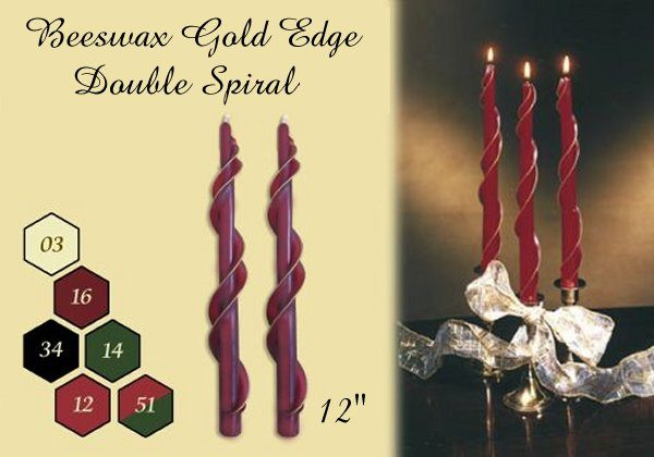 gold edge spiral beeswax taper candles