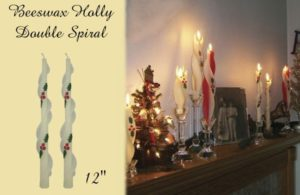 beeswax holly design spiral taper candle