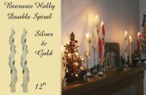 silver and gold holly design beeswax double spiral taper candle