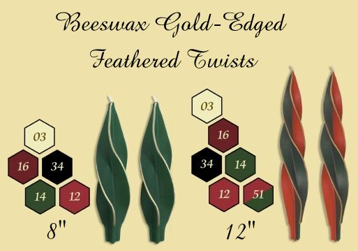 gold edge feather twist candles