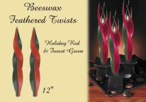 beeswax feathered twist candle in holiday colors