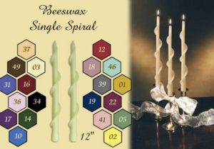 single spiral beeswax candle