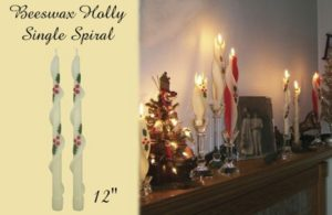 beeswax holly spiral taper candle