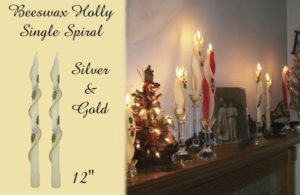 silver and gold holly design beeswax spiral taper candle