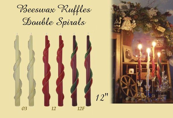 Beeswax Ruffles Double Spiral Taper Candle