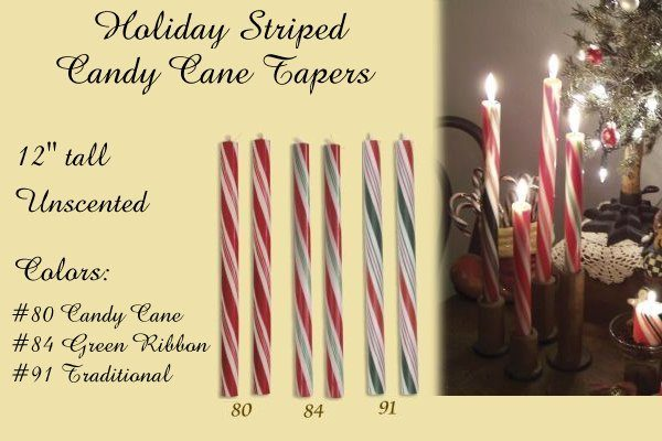 holiday stripe candy cane taper candle