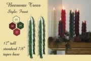 beeswax tree taper candles, frosted