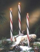 holiday stripe scented candy cane taper candles