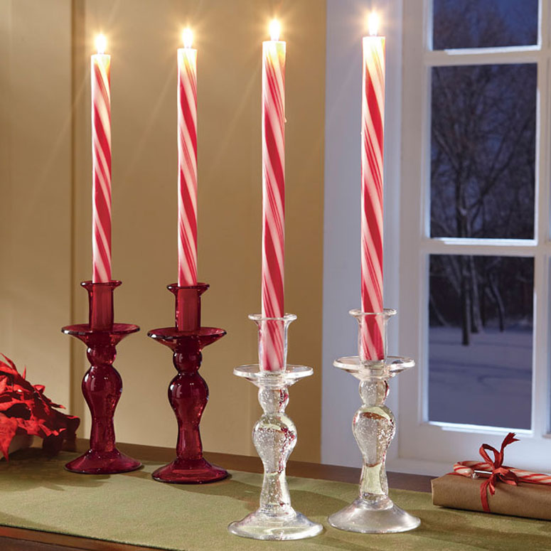 Holiday Striped Candy Cane Taper Candles 8 X 7 8