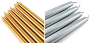metallic taper candles, gold, silver