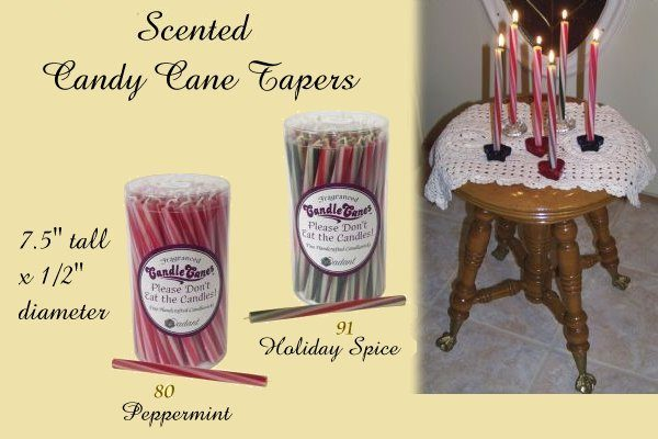 scented candy cane taper candles